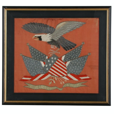 Japanese Export Silk Trapunto Embroidered American Patriotic Banner, circa 1900