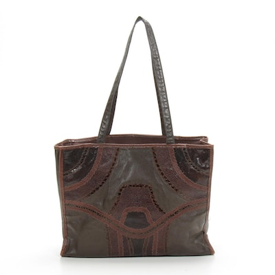 Carlos Falchi Tote Bag in Patchwork Style Leather