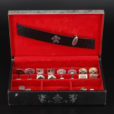Vintage Cufflink Assortment with Tie Clip, Pins and Box