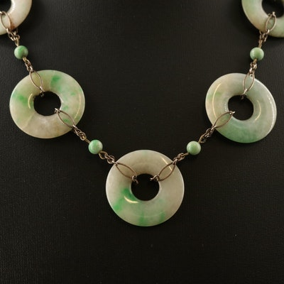Vintage Sterling Silver Jadeite Bead Necklace