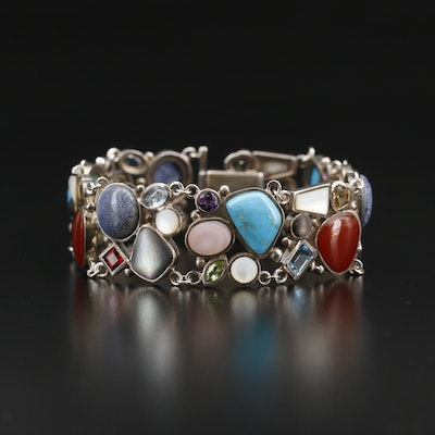 Sterling Silver Cluster Bracelet with Turquoise, Carnelian and Topaz