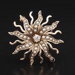 Vintage Diamond and Pearl Sunburst Converter Brooch