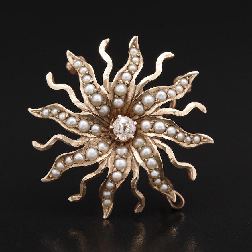 Antique Diamond and Pearl Sunburst Converter Brooch