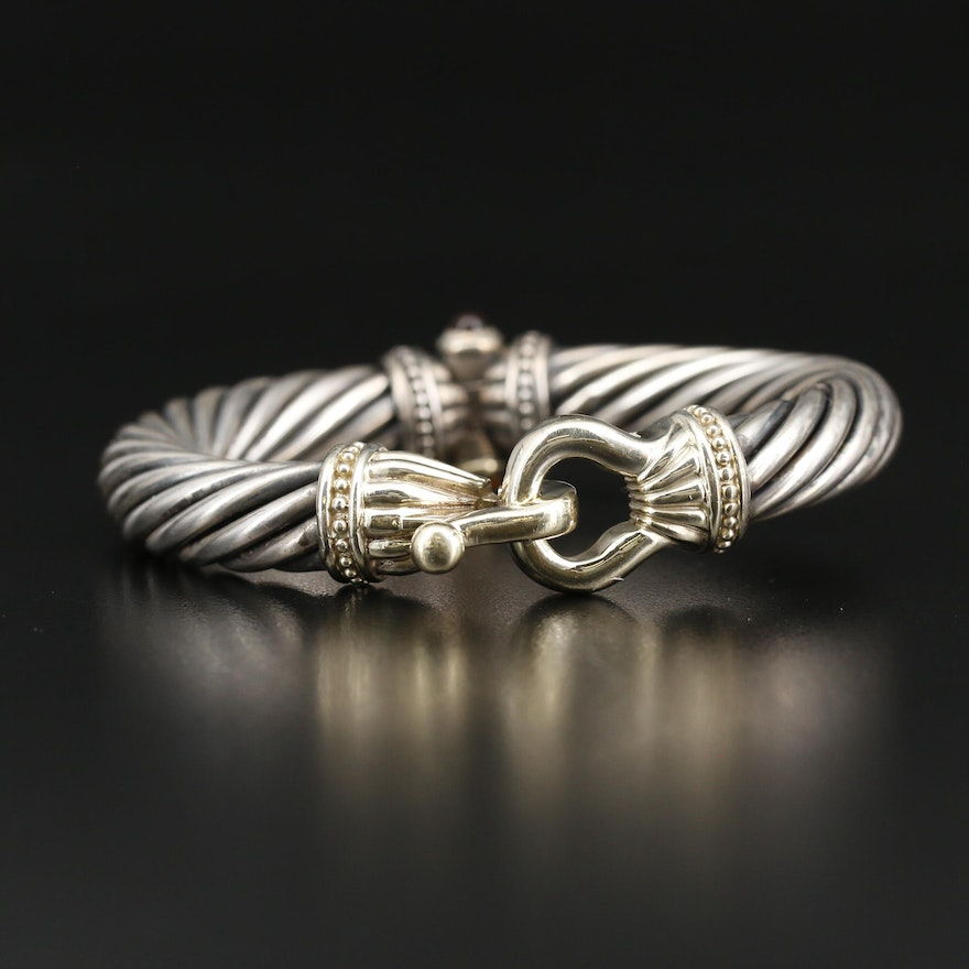 Sterling Silver and 14K  Citrine Twisted Cable Bangle Bracelet