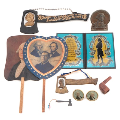 George Washington Centennial Inauguration Hatchet, Hand Fans, and More