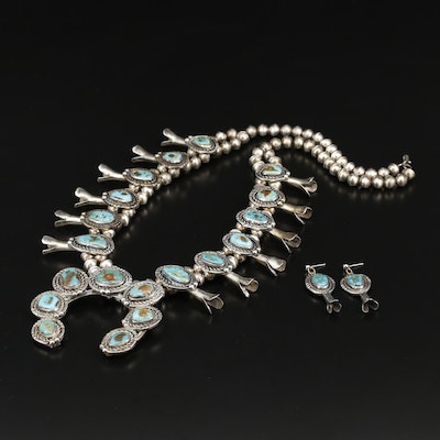 Southwestern Style Sterling Turquoise Squash Blossom Jewelry Set