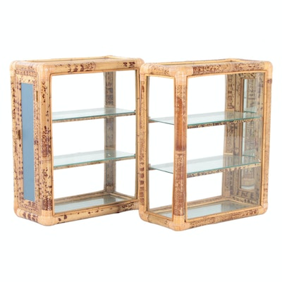 Asian Inspired Faux Bamboo Glass Display Cabinets, Late 20th Century