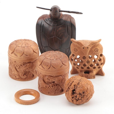 Vietnamese Hoan Kiem Turtle Carving with Carved Walnut and Boxwood Articles