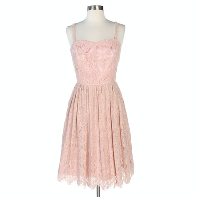 Handmade Sleeveless Dress with Blush Scalloped Lace and Sweetheart Neckline