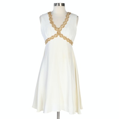 Sleeveless Empire Waist Dress in White with Embellished Gold Trim, 1960s Vintage