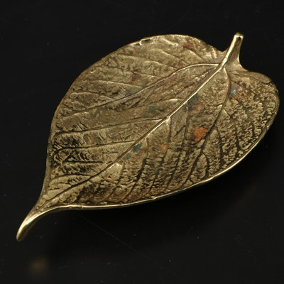 Virginia Metalcrafters Brass Mulberry Leaf Paperweight, Mid-20th Century