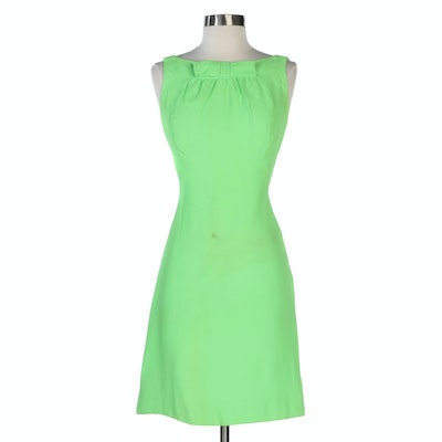 Sleeveless Yoke Dress with Flat Bow and Plunge Back in Green, 1960s Vintage