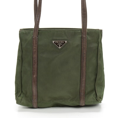 Prada Shoulder Bag in Green Tessuto Nylon and Brown Leather