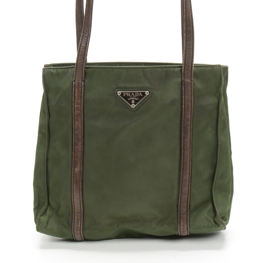 Prada Shoulder Bag in Green Tessuto Nylon and Brown Leather