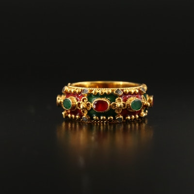18K Emerald, Ruby and Diamond Granulated Ring