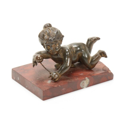 Bronze Figure of an Infant on a Rouge Griotte Marble Plinth, Early 20th Century