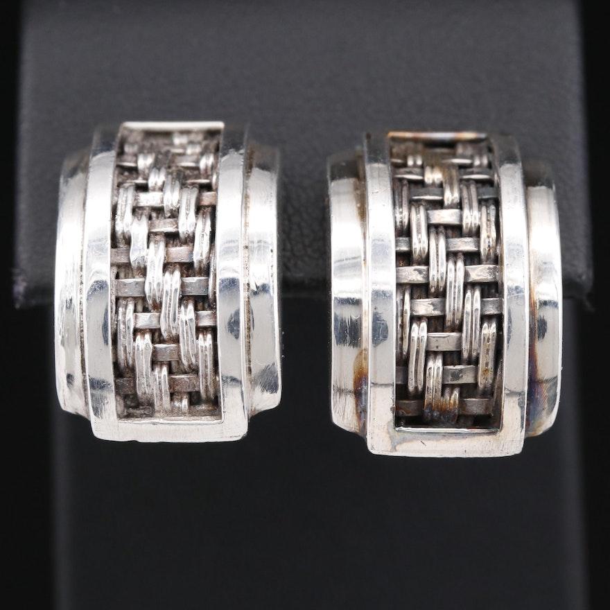 Lois Hill Sterling Basket Weave Clip-On Earrings