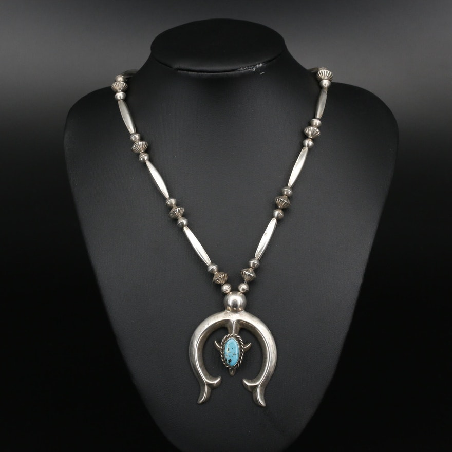 Southwestern Sterling and 800 Silver Turquoise Naja Necklace