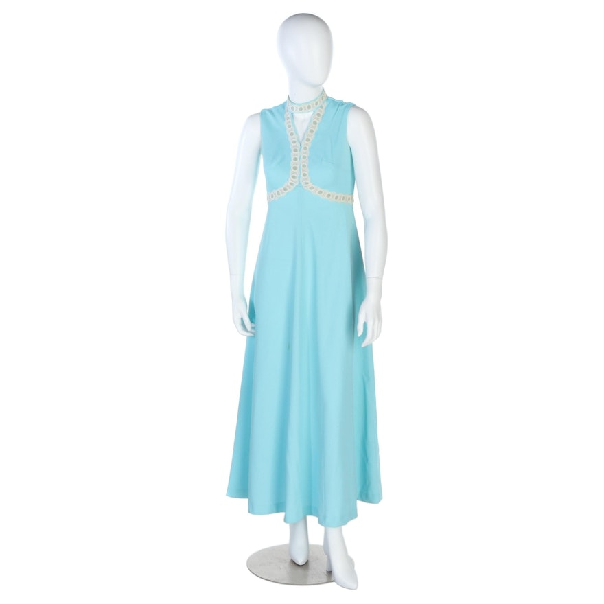 Empire Waist Maxi Dress with Lace and Velvet Trim in Powder Blue, Vintage