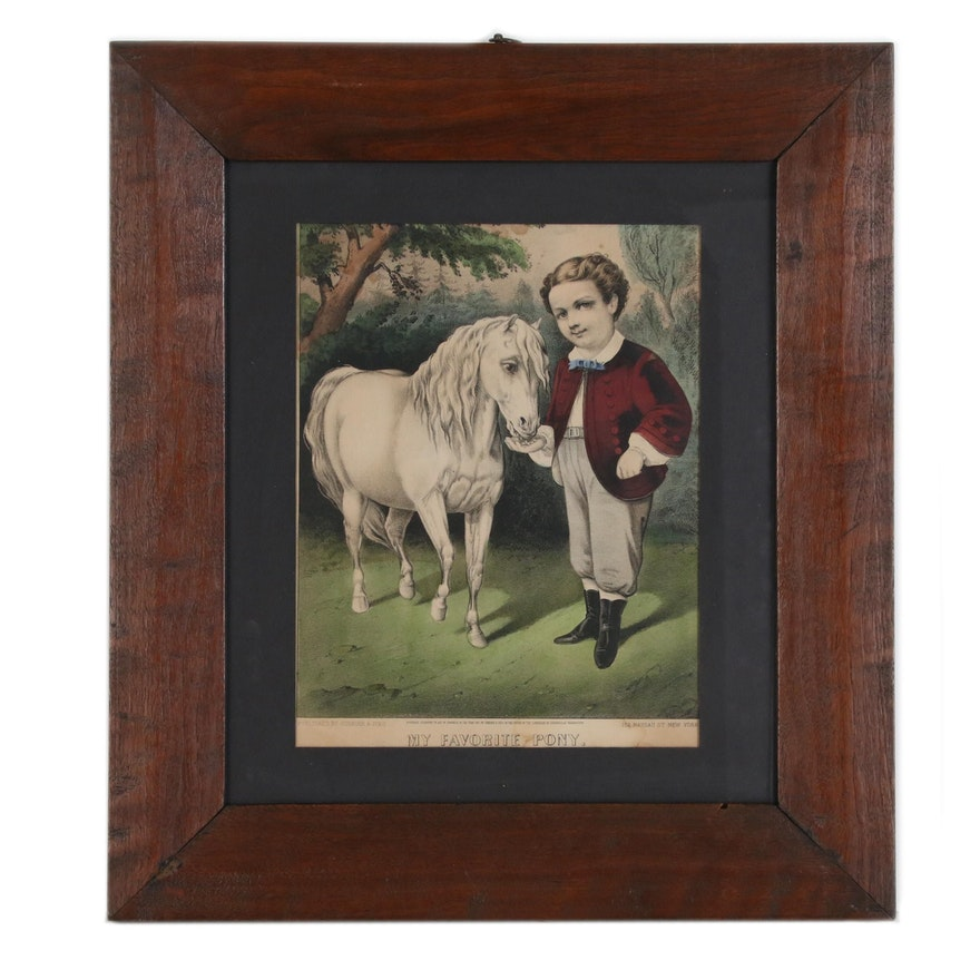 "Currier & Ives Hand-Colored Lithograph ""My Favorite Pony"", 1871"