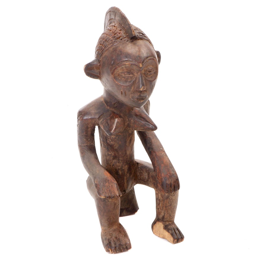 Luba Style Hand-Carved Wood Maternity Figure, Democratic Republic of the Congo