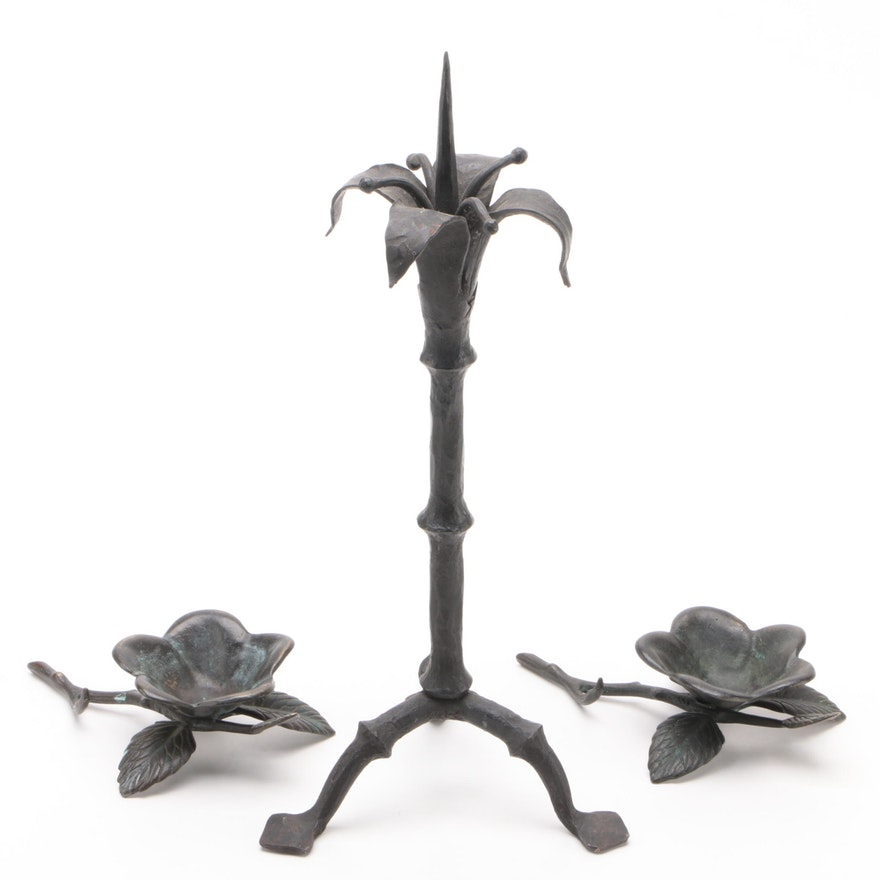 Wrought Iron Floral Motif Pricket Candlestick with a Pair of Candle Holders