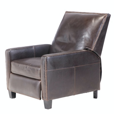Cost Plus for World Market Dark Brown Bicast Leather and Tack-Trimmed Recliner