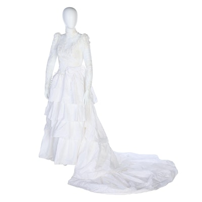 Tiered Ruffle Wedding Dress with Embellished Lace in White, Vintage