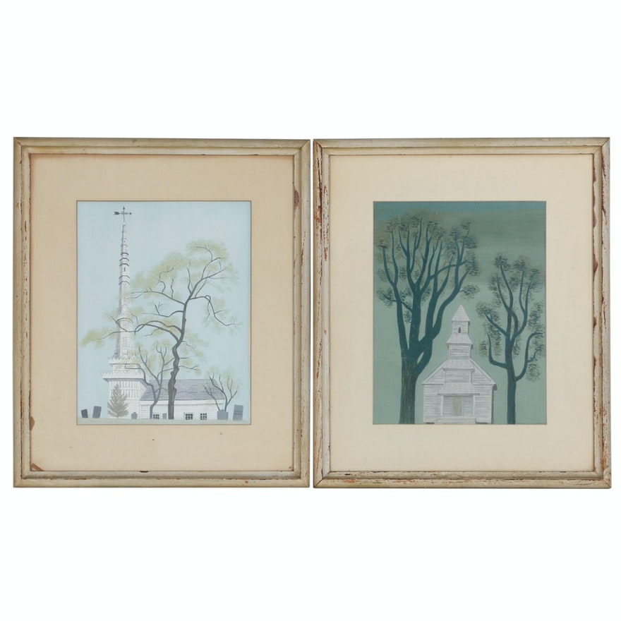 Witold Gordon Gouache Paintings of Churches, Early to Mid 20th Century