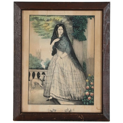 Hand-Colored Crayon Manner Lithograph of a Woman, Mid-19th Century