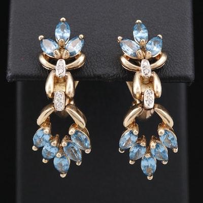 14K Diamond and Topaz Clip-On Earrings