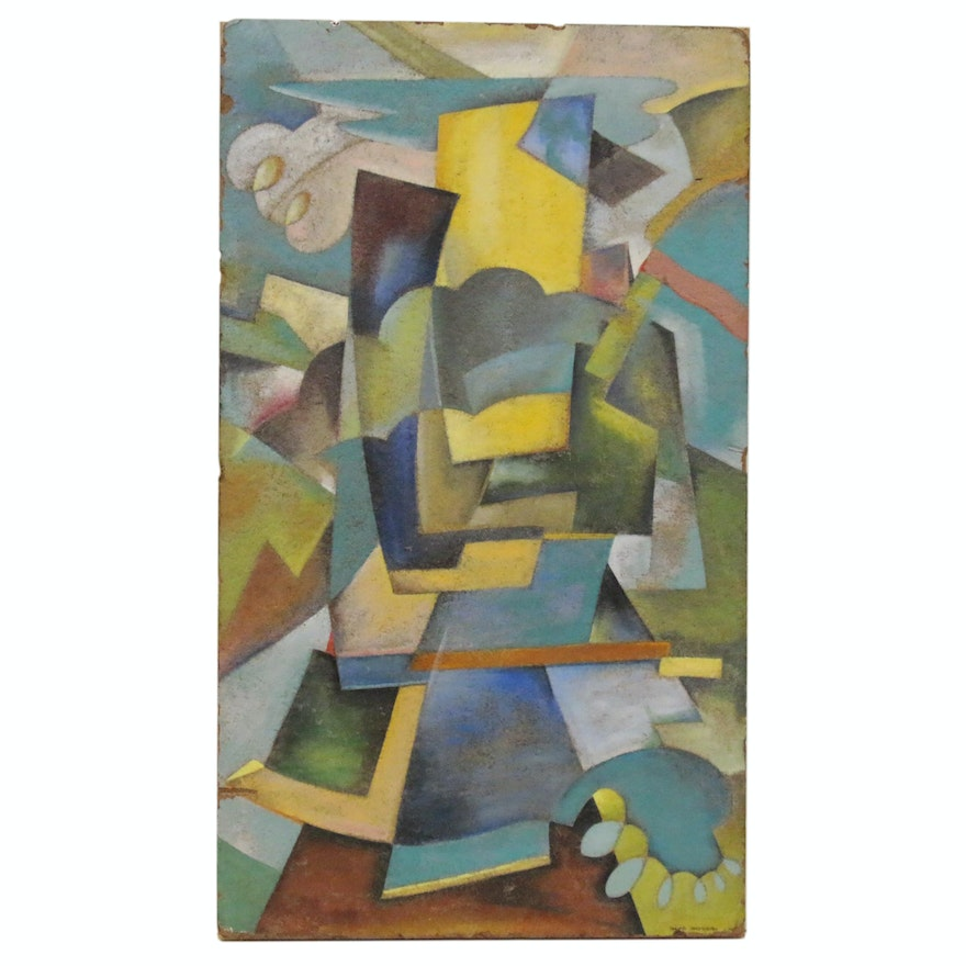 Roland Gentilcore Abstract Oil Painting on Fiberboard Construction Tile