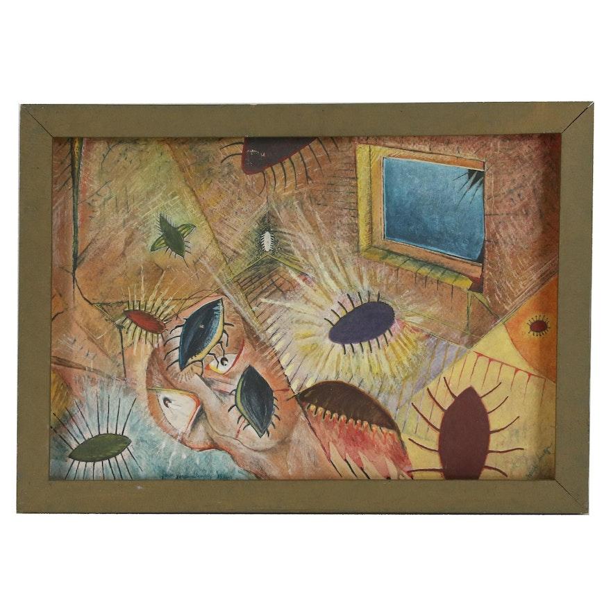 "John Jacob Stanely Gouache Painting ""Night Bugs"", 1986"