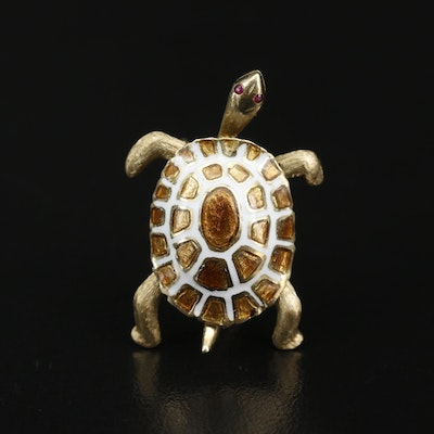 Vintage 14K Champlevé Ruby and Enamel Sea Turtle Brooch