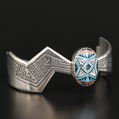 Roderick & Marilyn Tenorio for Relios Carolyn Pollack Sterling Inlay Cuff