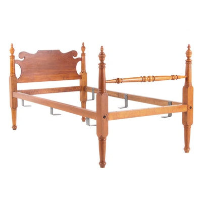 Colonial Style Stained Wood Twin Sized Bed Frame