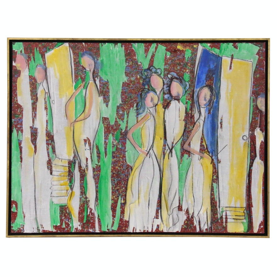 "Pat Gastreich Acrylic Painting ""Seeking the Doorway"""