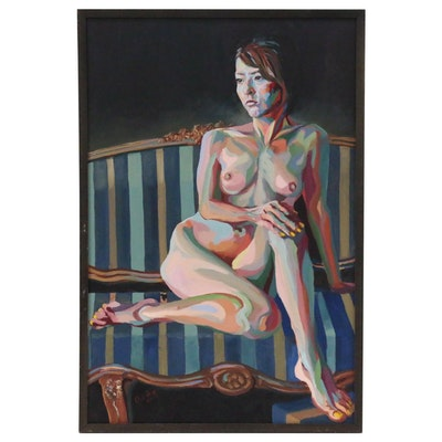Kaz Ooka Figure Oil Painting of Seated Female Nude, 2010