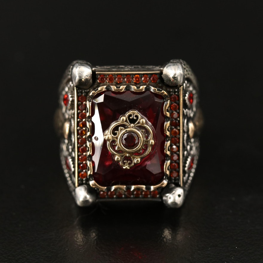 Sterling Silver Glass and Cubic Zirconia Brick Pattern Ring