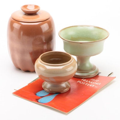 Frankoma Pottery Compotes and Lidded Jar, Mid to Late 20th Century
