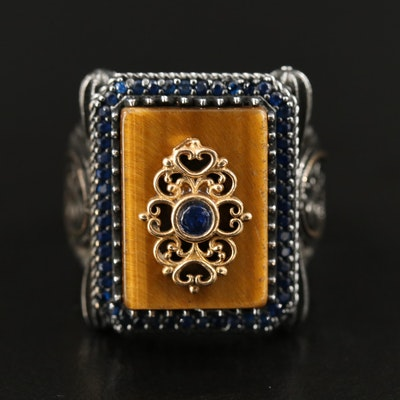 Tiger's Eye and Spinel Ring Featuring Adorned Frame