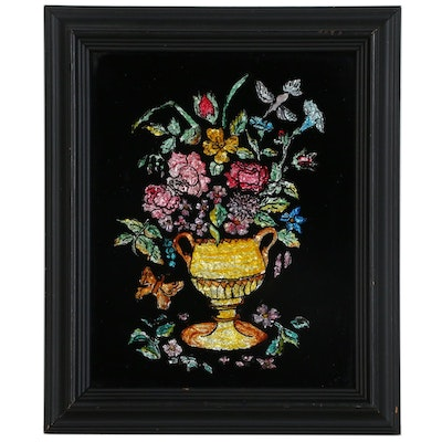 Floral Foil Tinsel Reverse Painting on Glass, Late 19th Century