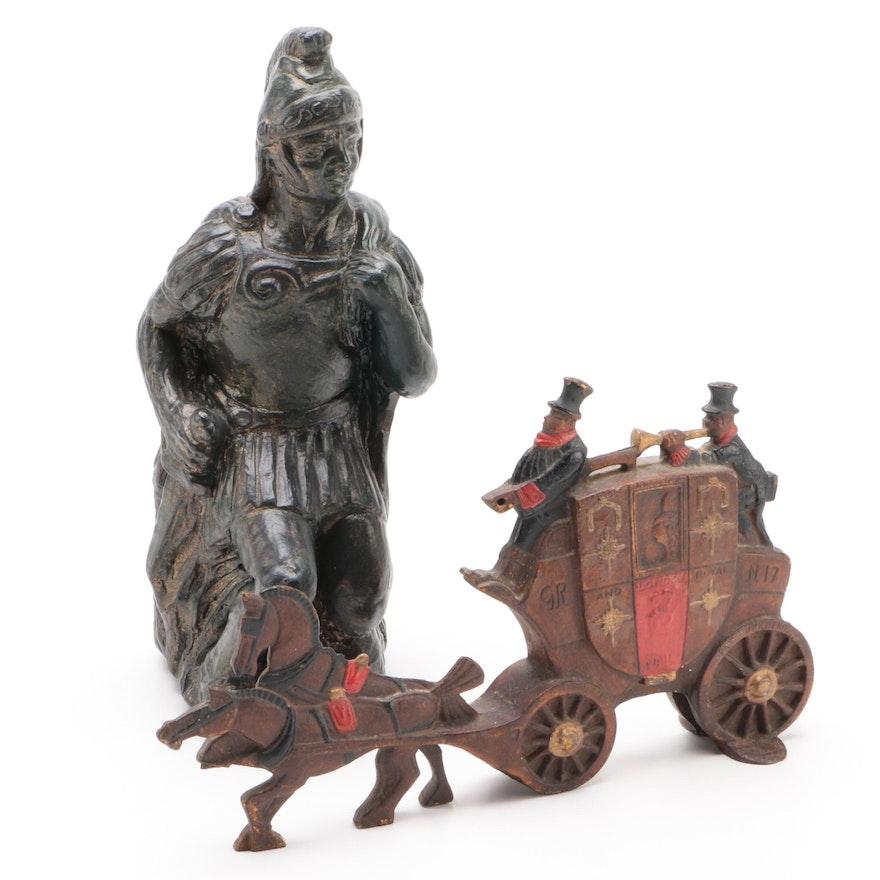 Devonport Stagecoach Cast Iron Doorstop and Roman Solider Figure