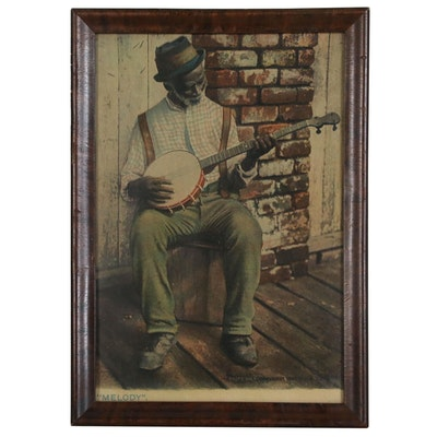 "Offset Lithograph of Man Playing Banjo ""Melody"""