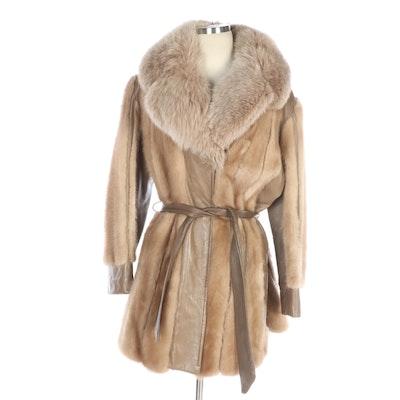 Mink Fur and Leather Coat with Fox Fur Collar from Davison's Fur Salon, Vintage