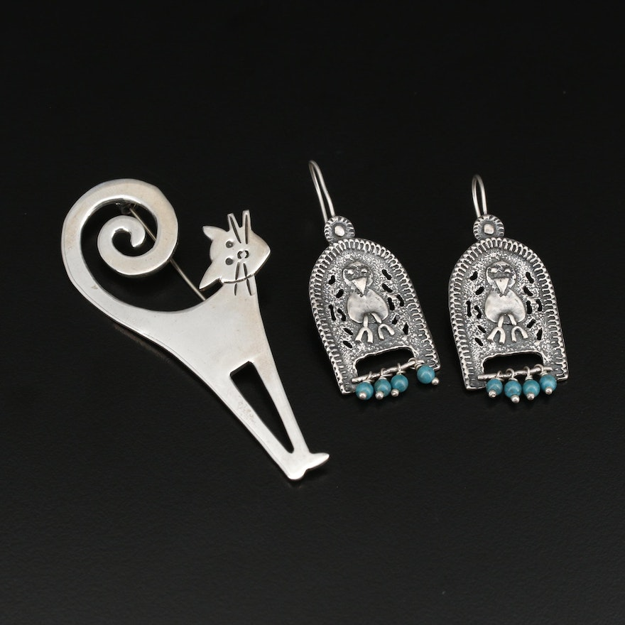 Mexican Sterling  Turquoise Cat Brooch and Western Bird Cage Earrings