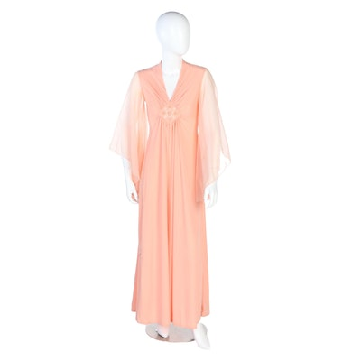 Embellished Gathered Front Angel Sleeve Evening Dress in Peach, 1960s Vintage