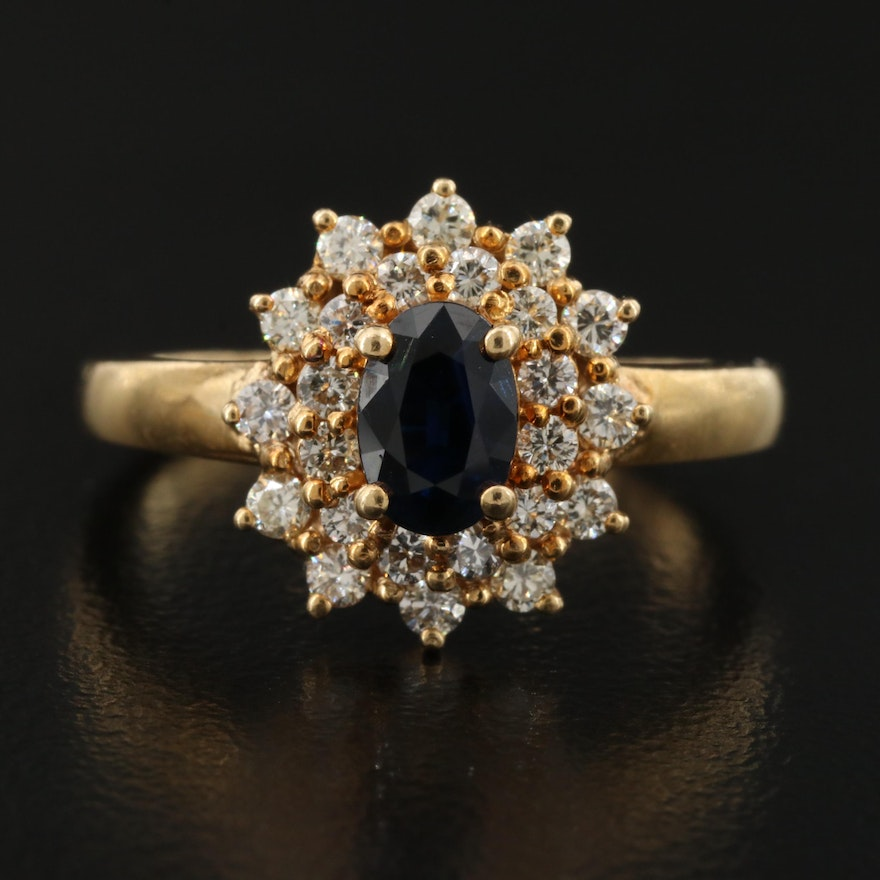 18K Sapphire and Diamond Double Halo Ring