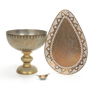 Indian Tooled Centerpiece Bowl and Other Brass Tableware, Mid-Late 20th Century
