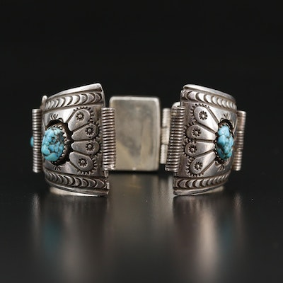 Western Sterling Turquoise Watch Band Bracelet